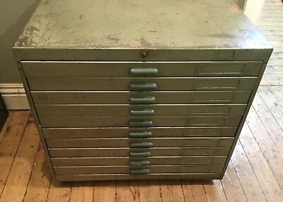 Vintage Industrial Metal Planning Chest Drawers