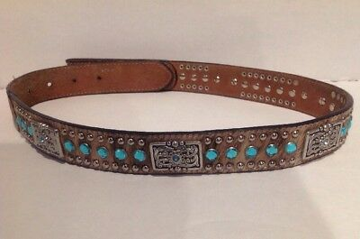 Nocona Kids' Hair-On-Hide Blue Rhinestone and Square Concho Belt Tan Sz 29