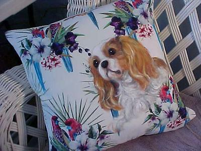 Cavalier King Charles Handpainted Pillow Hibiscus Just Gorgeous!