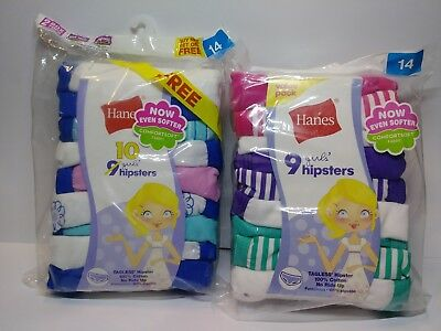 Lot of 19 Hanes Girls Cotton Hipster Panties Underwear Multi Color Size 14 NEW