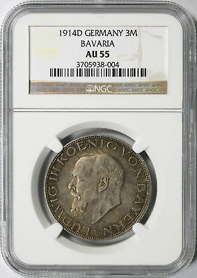 1913-A Germany Silver 3 Mark Prussia Silver Jubilee NGC AU58