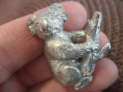"1 1/4"" Australian Pewter Koala Bear In Branch Miniature Figurine Fluffy Ears"
