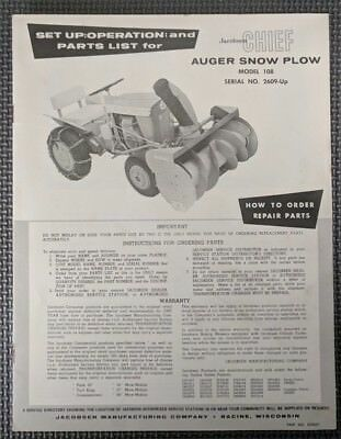 Jacobsen Chief Garden Tractor Auger Snow Plow - Set Up Operation and Parts List
