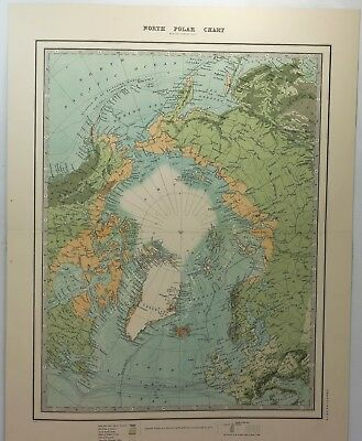 """Original Chromolithograph Map - """"NORTH POLAR CHART""""  by Keith Johnston in 1882"""