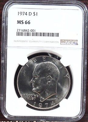 1974-D NGC MS66 Eisenhower Ike Dollar $1 My Last One - Only 12 with Higher Grade