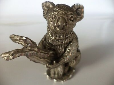 "126g 1991 MASTERWORKS PEWTER 2"" KOALA BEAR IN BRANCH MINIATURE FIGURINE"
