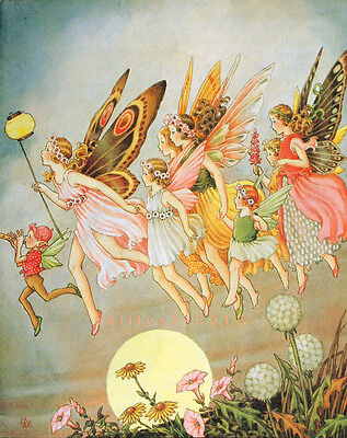 Postcard: Vintage repro print - Colorful Fairies in the Moonlight - Full moon