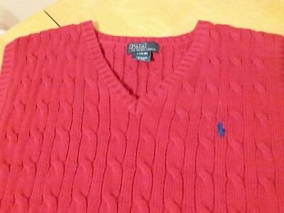 Polo By Ralph Lauren Boys V Neck Cable Knit Red Sweater Vest Size L 14-16