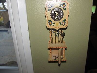 Vintage Mini German Hand Painted Key Wind Grandfather Clock With Key
