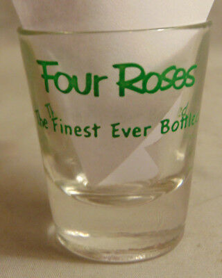 Vintage Four Roses Whiskey Green Text Advertising Shot Glass