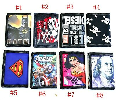 AU Kids Boy Girl Man Woman Trifold Zipper Coin Bag Canvas ID Wallet Gift Batman