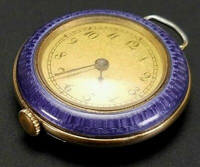 Antique 19Th C Swiss Guilloche Enamel Sterling Silver Ladys Pendant Pocket Watch