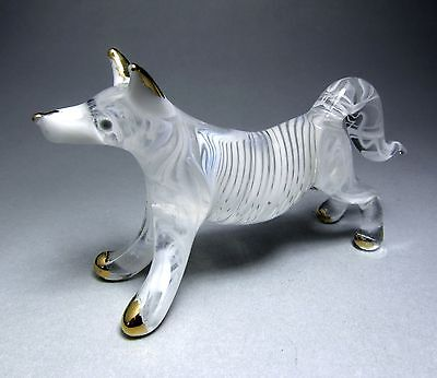 White Polar WOLF handmade blown ART GLASS figurine miniature - GIFT dog