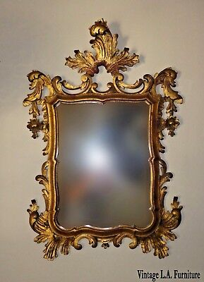Vintage French Provincial Rococo Louis XVI Ornate Gold Wall Mantle Mirror Italy