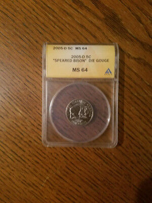 2005 D Jefferson Nickel Speared Bison Anacs  Ms64