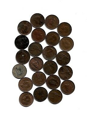 England: Lot of 22 Farthing Coins from 1918-1956