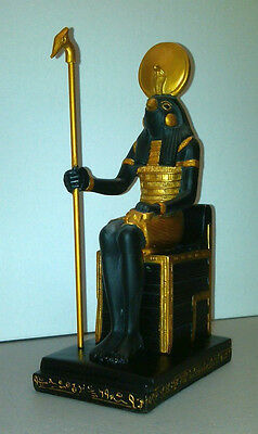 Black Egyptian Statue Falcon God Horus Figurine Enthroned Waas Scepter #7294