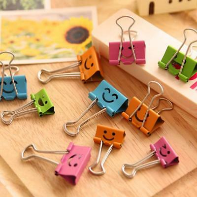 5pcs Cute Office School Paper File Organizer Binder Clips Metal Smile Face