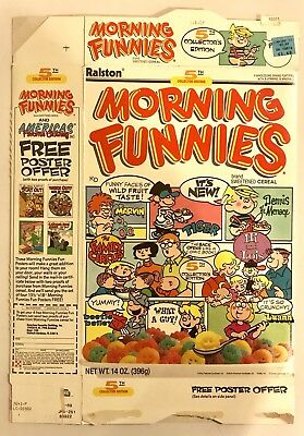 Vintage 1989 Ralston Morning Funnies Cereal Box,5th Edition,Poster Offer
