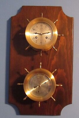 Schatz Admiralty Ships Bell Mariner Clock And Barometer With Wood Plaque Working