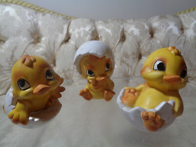 Vintage Norcrest Easter chicks hatching from eggs (3) #A562