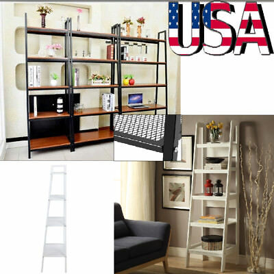 new styles 9bde7 89ffa 4-TIER BOOKCASE BOOKSHELF Leaning Wall Shelf Ladder Storage Display Rack  Stand