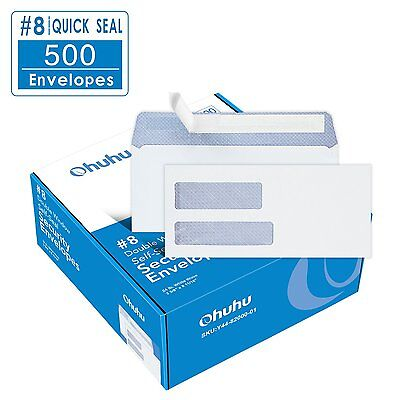 Ohuhu #8 Double Window Envelope 500-pack SELF SEAL Quickbooks Check Envelopes