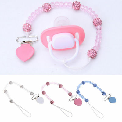 Baby Pacifier Clips Crystal Soother Chain Dummy Soother Leash Strap Nipple