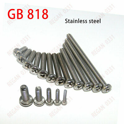 M2, M2.5, M3, M4, M5, M6 Phillips Cross Round Pan Head Screw 304 Stainless Steel