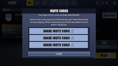 Fortnite Mobile Invite activation code x 3 available iOS mobile fortnite app