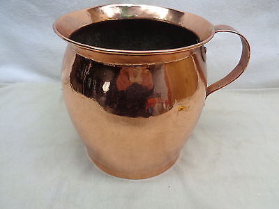 Antique 1800's Polished Copper Hand Crafted Dovetailed Heavy Pot