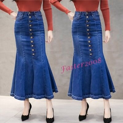 d7e5cf6d20 Fashion Women s Denim Bodycon Flared Expansion Skirts Mermaid Jean Skirts  Dress