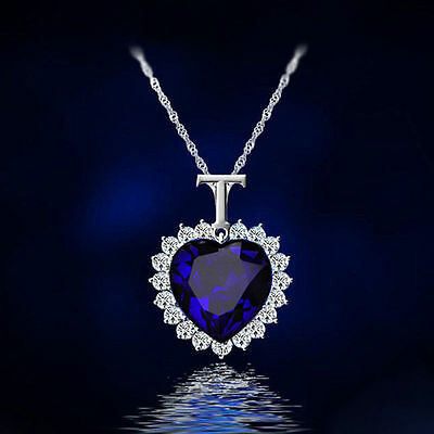 "Valentine's Day Heart 4Ct Sapphire & Diamond 18"" Necklace 14k White Gold Over"