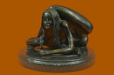 Handmade Nude Contortionists Signed Bronze Marble Statue Sculpture Deco Art