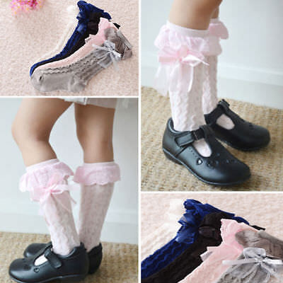 Girls Soft Kids Lace Stockings Breathable Cotton High Knee Socks