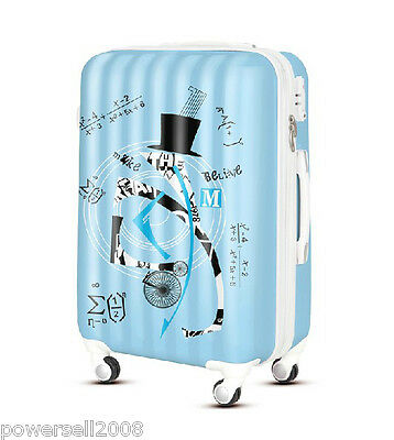 "28"" TSA Lock Universal Wheel Blue Geometric Pattern ABS Travel Suitcase Luggage"