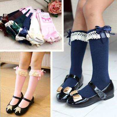 Fashion Soft Kids Breathable Cotton High Knee Socks Lace Stockings