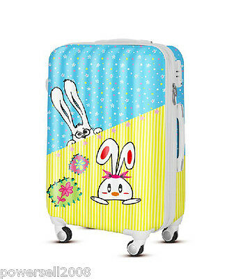 "28"" TSA Lock Universal Wheel Blue Yellow Rabbit ABS+PC Travel Suitcase Luggage"