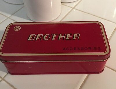 Vintage Red Brother Sewing Machine Accessories Tin Farmhouse Kitchen Storage