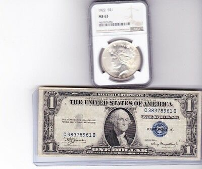 1922-P Peace Silver Dollar NGC MS 63 & 1935A $1 Silver Certificate Lot of 2,