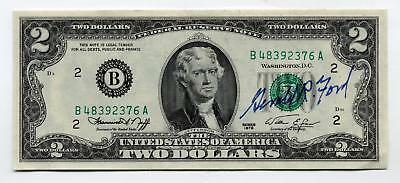 RARE President GERALD FORD signed $2 bill - 1975 issue