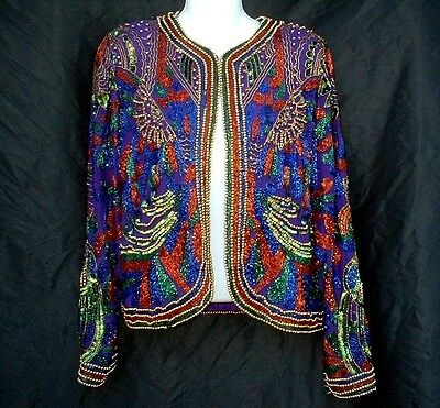 Vintage 80S Brilliant Beaded Sequin Cocktail Club Disco Jacket Small/medium Wow!