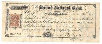 Antique 1867 ~ SECOND NATIONAL BANK ~ FREEPORT, ILLINOIS ~  No.1366