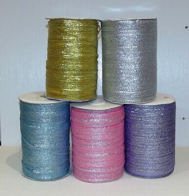Metallic Lurex Glitter Ribbon 3mm wide Gold Silver Pink Blue Lilac 5m length