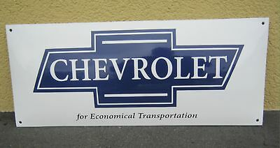 Emailschild Chevrolet for transportation Grösse 60 X 25cm gekrümmt blau/weiss