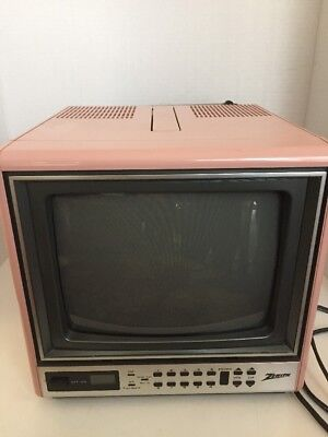 Vintage Zenith Cubed Shape Portable TV Glossy Rare Pink Color With Antenna