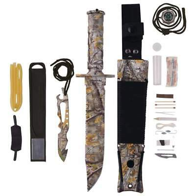 """Camo SURVIVAL Combat Tactical HUNTING KNIFE Military Bowie 7-3/4"""" Fixed Blade"""