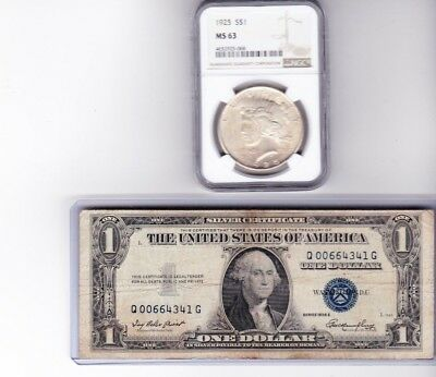 1925-P Peace Silver Dollar NGC MS 63 & 1935E $1 Silver Certificate, Lot of 2
