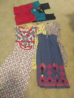 lot of tea collection girls clothes, size 10, 5 dresses, 3 leggings