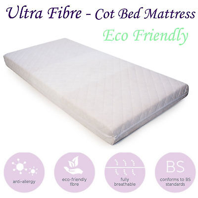 Baby Cotbed Breathable Quilted Fibre Mattress Eco-Friendly Cot Crib All Sizes
